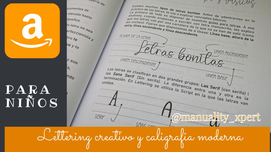 Libro de lettering creativo y caligrafia moderna para niños