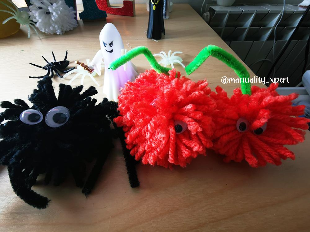 Haz monstruos de Halloween con pompones